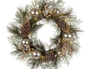 Glitzhome 24 in Pre lit Battery operated Multi Pinecones Artificial Christmas Wreath