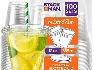 Stack Man Pet12 98ss 100 100 Sets   12 Oz  Clear Plastic Cups With Straw Slot