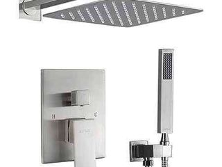 ESNBIA Shower System Brushed Nickel with Valve and 12  Rain Shower Head Systems