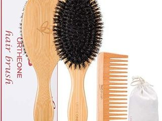 Boar Bristle Hair Brush and Comb Set for Women men and Kids  Best Natural Bamboo Oval Paddle Hair brush with Wooden Detangling Comb