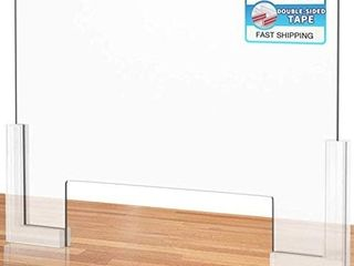 Counter Desk Sneeze Guard Plexiglass Shield Barrier with Adhesive Feet for Coughing  Sneezing  Droplets