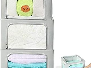 HOUSE AGAIN 3 Pcs Sturdy Storage Bags Stackable Storage Boxes Containers  Durable Handles Solid Bottom with Metal Frame for Clothes  Bedding   Clear Window with label Holder and Zipper large  Grey