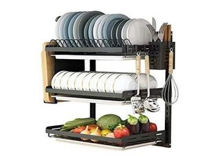 3 Tier Black Stainless Steel Dish Drying Rack
