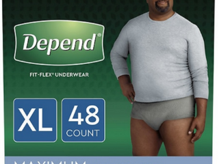 Depend FIT FlEX Incontinence Underwear for Men   Maximum Absorbency   Extra large   Gray   48ct