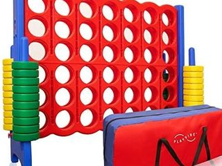 Jumbo 4 to Score Giant Game Set  with Storage Carry Bag Included   life Size Connect All Four Game   4 in A Row for Kids and Adults   4  Wide by 3 5  Tall   Giant Outdoor Games Toys   Outdoor   Indoor
