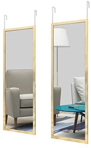 whitebeach Door Mirror 2pcs 48a x 16  Full length Wall Mirror Door Mirror Rectangle Dressing Mirror Bedroom Mirror for Home Decoration Gold
