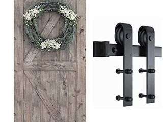 SMARTSTANDARD 6 6 Foot One Piece Track Sliding Barn Door Hardware Kit  Smoothly and Quietly  Easy to Install  Includes Step By Step Installation Instruction  Fit 36 40