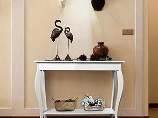 ChooChoo Narrow Console Table for Entryway  Silm Sofa Table with Wood Curved legs  Tall Entryway Table for Hallway  Easy Assembly  White