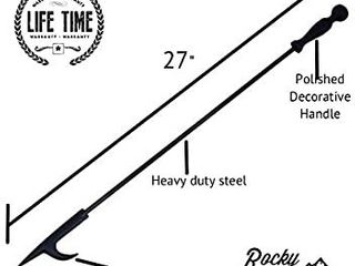 Rocky Mountain Goods long Fireplace Poker   Rust Resistant Black Finish   Heavy Duty Wrought Iron Steel   Decorative look and Finish   Multi use tip