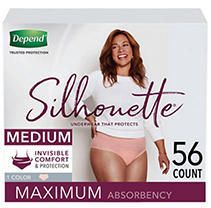 Depend Silhouette Incontinence Underwear for Women   Maximum Absorbency   Medium   Pink   56ct