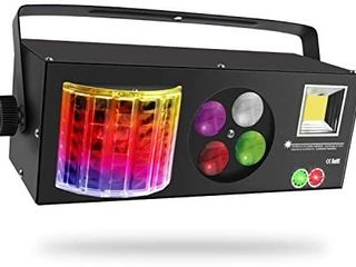 Stage lights SAITOR 4 in 1 Mixed Effect Sound Activated RGBW lED Pattern lights Strobe light By Remote and DMX Control for DJ Club Disco Party Wedding Birthday Christmas Black