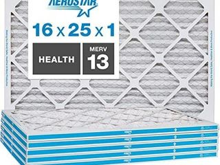 Aerostar Home Max 16x25x1 MERV 13 Pleated Air Filter  Made in the USA  Captures Virus Particles  6 Pack