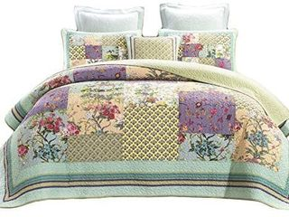 Theseum Floral Patchwork Bedspread Quilt Queen 3 Piece Set 100  Cotton Embroidery Pillow Shams  Green  Full Quee