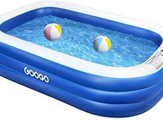 GOOGO Family Inflatable Swimming Pool  92 x 56 x 20 inch Full Sized Inflatable lounge Pool for Kiddie  Kids  Adults  Easy Set Swimming Pool for Backyard  Summer Water Party  Outdoor