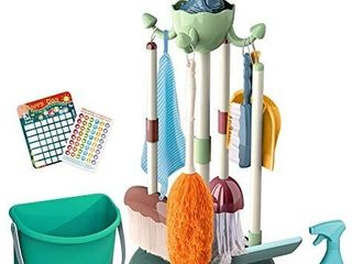 Mini Tudou 10 Pcs Kids Cleaning Set  Pretend Play Household Toys with Kid Sized Dinosaur Stand  Bucket  Brush  Broom  Mop  Dustpan  Duster  Glass Cleaner  Rag  Housework Cards Detergent for Toddlers