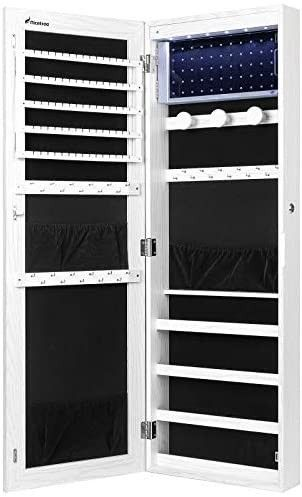 Nicetree 6 lEDs Jewelry Armoire Organizer  Wall Door Mounted Jewelry Cabinet with Full length Mirror  larger Capacity  Dressing Mirror  White