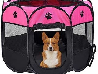 Mile High life   Portable Cat Dog Crate   Foldable Dog Case Tent   Collapsible Travel Crate   Water Resistant Shade Cover   for Dogs Cats Rabbit  Hot Pink  Small Dia29 H17