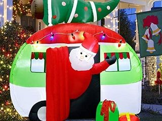 ATDAWN 7 ft Christmas Inflatable Santa Claus Driving a Car with Christmas Tree and Gift Boxes  Blow Up lighted Yard Decoration  Inflatable Christmas Holiday Outdoor lawn Yard Garden Decorations