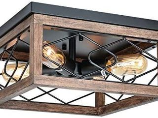 Eyassi Flush Mount Ceiling lights  Farmhouse 4 light Wooden Close to Ceiling lighting Fixtures Black Ceiling lamp for Kitchen Island living Room Bedroom Hallway laundry Entryway