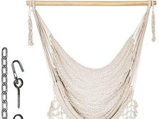 Prime Garden Mesh Hammock Net Chair Swing  Hanging Rope Netted Soft Cotton Hammock Chair Swing Seat Porch Chair for Yard Bedroom Patio Porch Indoor Outdoor  265 lbs Weight Capacity  Beige