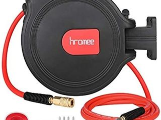 Hromee Air Compressor Hose Reel with Automatic Retractable Enclosed 3 8 Inch A 50 Feet Hybrid Pneumatic Hose