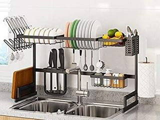 Adjustable Dish Drying Rack Over The Sink  Stainless Steel large 2 Tier Dish Strainers Utensils Holder