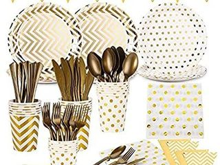 Yesland 168 Pcs White and Gold Party Supplies Set  Services 24 with Gold Cutlery Includes Plastic Spoons  Knives  Forks  Paper Plates  Cups  Napkins and Banner for Birthday Party Wedding Baby Shower