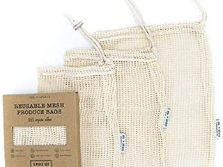 Sol   Spirit Reusable Produce Bags a Organic Cotton Bags a Eco Friendly Shopping Bags   Washable   Biodegradable Bags a Eco Friendly Products a Compostable Packaging a Set of 3