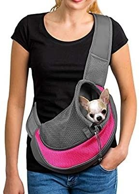 YUDODO Pet Dog Sling Carrier Breathable Mesh Travel Safe Sling Bag Carrier for Dogs Cats  S up to 5lbs Pink