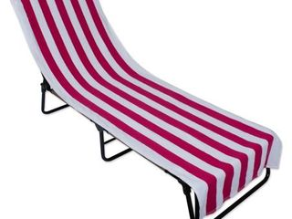 Pink Stripe lounge Chair Beach Towel With Top Fitted Pocket 26x82