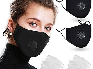 2 Pack Reusable Cotton Cover with Breathing Valve  Feeke Washable Cotton Cloth Adjustable Ear loops with 4 Pcs Filters for Men and Women   Black   2 packs per lot 4 masks total
