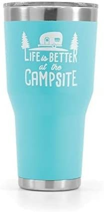 Camco life is Better at The Campsite Stainless Steel 30 oz  Tumbler with Double Wall Insulation   leak Proof lid  Won t Sweat  Great For Hot and Cold Drinks   Cool Blue