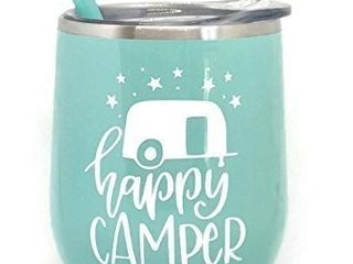 life is Better At the Campsite Pink Stainless Steel Stemless Wine Glass Tumbler Great for Any Occasion Home or Away