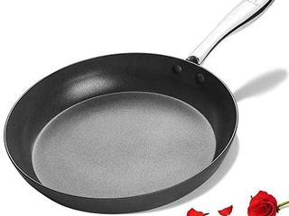 KUTIME 11 inch Hard Anodized Frying Pan  Nonstick Skillet  Classic Fry Pan with Stainless Steel Handle  Gas  Induction Compatible  Oven Safe