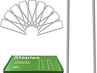 Garden Stakes Pins  landscape Staples 6 Inch 50 Pack 11 Gauge Galvanized lawn Stake for Dog Fence  Weed Barrier Fabric  Ground Cover  Irrigation Tubing Soaker Hose  Chicken Wire