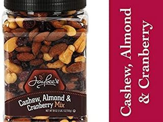 Jaybee s Unsalted Mixed Nuts   Cashew Almond Cranberry Mix 18 oz   Everyday Healthy Antioxidant Snack   Certified Kosher   Featuring Cashews Almonds   Cranberries   Blend of Nut   Dried Fruit