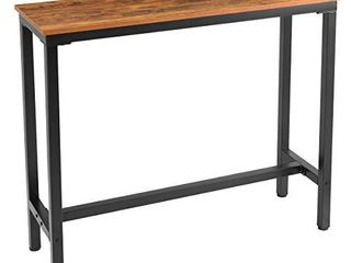 Mr IRONSTONE Bar Table  47  Rectangular Kitchen Pub Dining Coffee Table High Writing Computer Table  for Narrow Space  living Room  Dining Room Sturdy Metal Frame  Easy Assembly  Industrial Brown