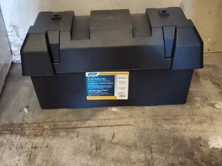 Camco Heavy Duty Double Battery Box with Straps and Hardware   Group GC2   Safely Stores RV  Automotive  and Marine Batteries  Durable Anti Corrosion Material   Measures 21 5  x 7 4  x 11 2     55375