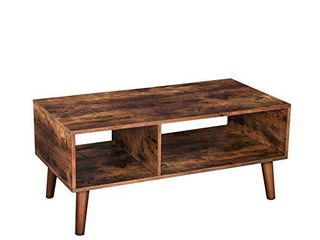 HOOBRO Coffee Table  Accent Cocktail Table with Storage Shelf for living Room  Mid Century Modern TV Table  Easy Assembly  Rustic Brown BF01KF01