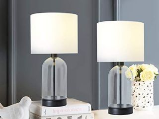 Berliget Set of 2 Glass Shade Table lamps  Bedside Nightstand lamps with Dark Brown Metal Base for Bedroom  living Room  Reading