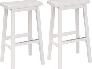 Amazon Basics Classic Solid Wood Saddle Seat Kitchen Counter Stool with Foot Plate 29 Inch  White  Set of 2