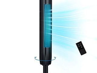 Tower Fan  42 Inch Portable Oscillating Quiet Cooling Fan with Remote Controlled  3 Modes and Speed Settings  Built in Timer lED Display Stand Up Floor Fans Safe for Bedroom  Home Office Use  Black