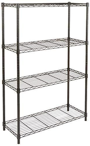 Amazon Basics 4 Shelf Adjustable  Heavy Duty Storage Shelving Unit  350 lbs loading capacity per shelf  Steel Organizer Wire Rack  Black  36l x 14W x 54H