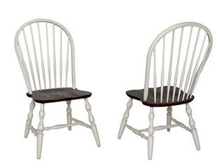 Sunset Trading Andrews Dining Chair  Antique white finish with chestnut seat