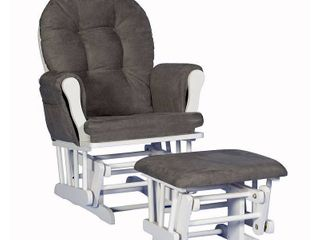 Storkcraft Hoop Glider and Ottoman   White Frame Gray Fabric