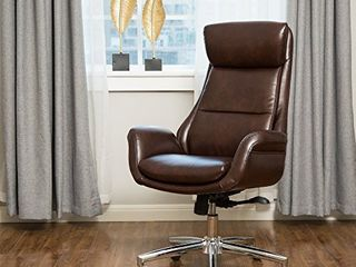 Glitzhome PU leather Adjustable High Back Office Chair Home Executive Armrest Swivel Chair  Brown