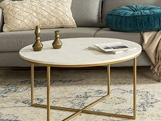 Walker Edison Cora Modern Round Faux Marble Top Coffee Table with X Base  36 Inch  White Faux Marble and Gold