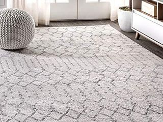 JONATHAN Y Moroccan Hype Boho Vintage Diamond  Bohemian  Easy Cleaning  for Bedroom  Kitchen  living Room  Non Shedding Area Rugs  8 X 10  Cream Gray