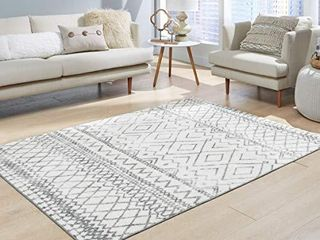 Maples Rugs Abstract Diamond Modern Distressed Area Rugs Carpet for living Room   Bedroom  Made in USA  5 x 7  Neutral