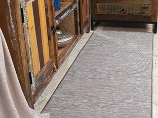 Ottomanson Sundance Collection Reversible Indoor   Outdoor Solid Design Runner Rug  20  X 59  Beige